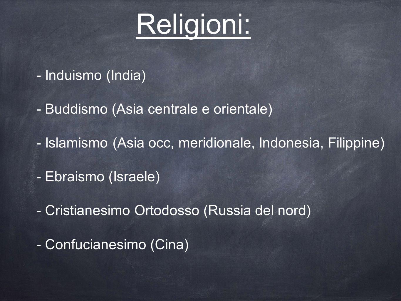 Religioni: - Induismo (India) - Buddismo (Asia centrale e orientale) - Islamismo (Asia occ, meridionale, Indonesia, Filippine) - Ebraismo (Israele) -