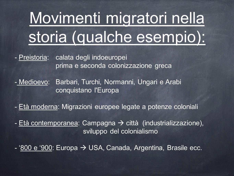 Movimenti migratori nella storia (qualche esempio): - Preistoria: calata degli indoeuropei prima e seconda colonizzazione greca - Medioevo:Barbari, Tu