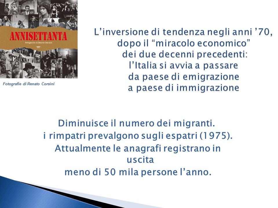 Diminuisce il numero dei migranti. i rimpatri prevalgono sugli espatri (1975).