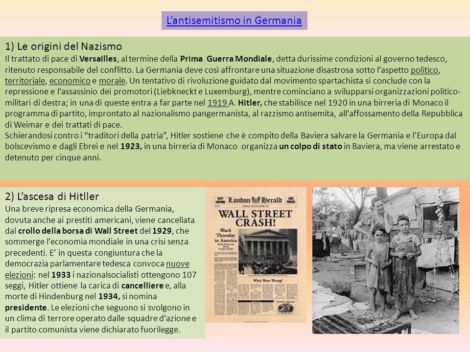 L'antisemitismo in Germania 1) Le origini del Nazismo Il trattato di pace di Versailles, al termine della Prima Guerra Mondiale, detta durissime condi