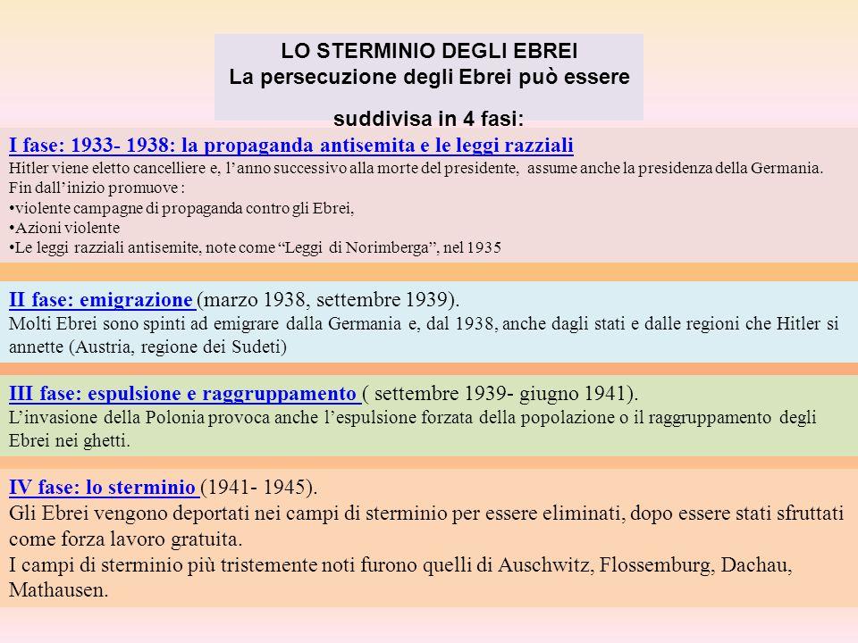 LO STERMINIO DEGLI EBREI La persecuzione degli Ebrei può essere suddivisa in 4 fasi: I fase: 1933- 1938: la propaganda antisemita e le leggi razziali