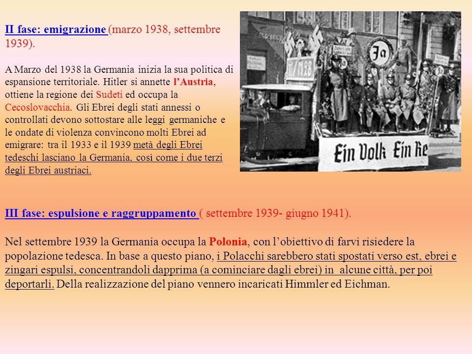 II fase: emigrazione II fase: emigrazione (marzo 1938, settembre 1939). A Marzo del 1938 la Germania inizia la sua politica di espansione territoriale