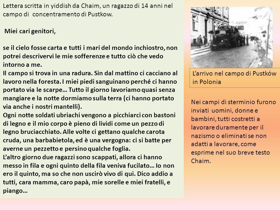 L'arrivo nel campo di Pustków in Polonia Lettera scritta in yiddish da Chaim, un ragazzo di 14 anni nel campo di concentramento di Pustkow. Miei cari