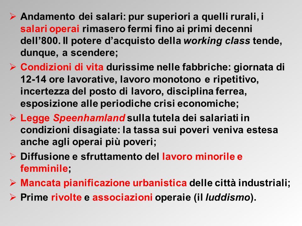  Andamento dei salari: pur superiori a quelli rurali, i salari operai rimasero fermi fino ai primi decenni dell'800.