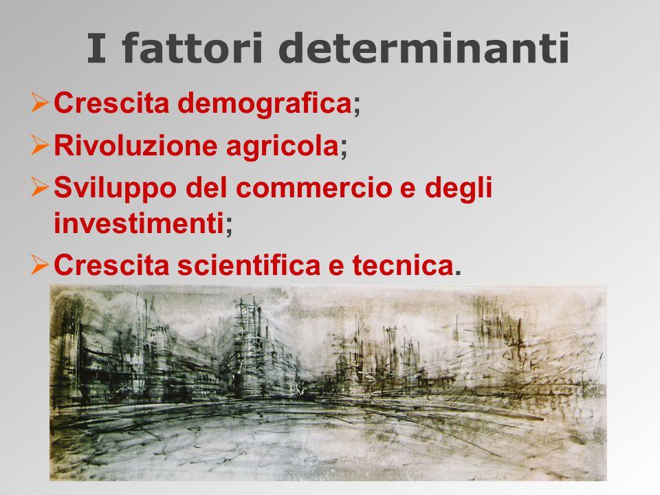  Crescita demografica;  Rivoluzione agricola;  Sviluppo del commercio e degli investimenti;  Crescita scientifica e tecnica.