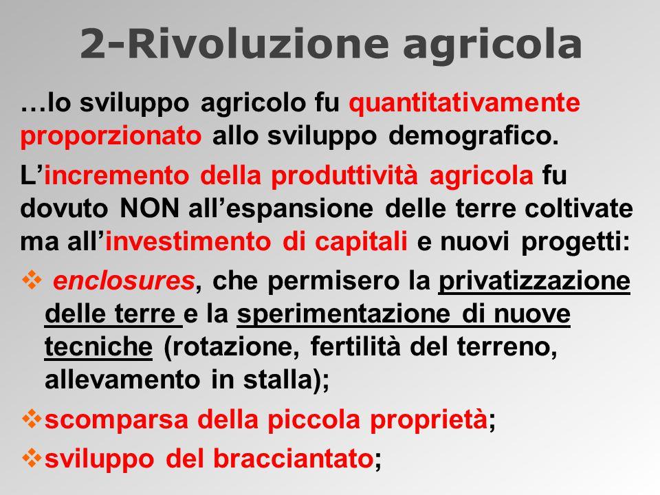 2-Rivoluzione agricola …lo sviluppo agricolo fu quantitativamente proporzionato allo sviluppo demografico.