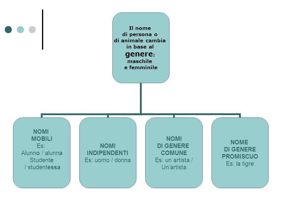 Il nome di persona o di animale cambia in base al genere: maschile e femminile NOMI MOBILI Es: Alunno / alunna Studente / studentessa NOMI INDIPENDENT