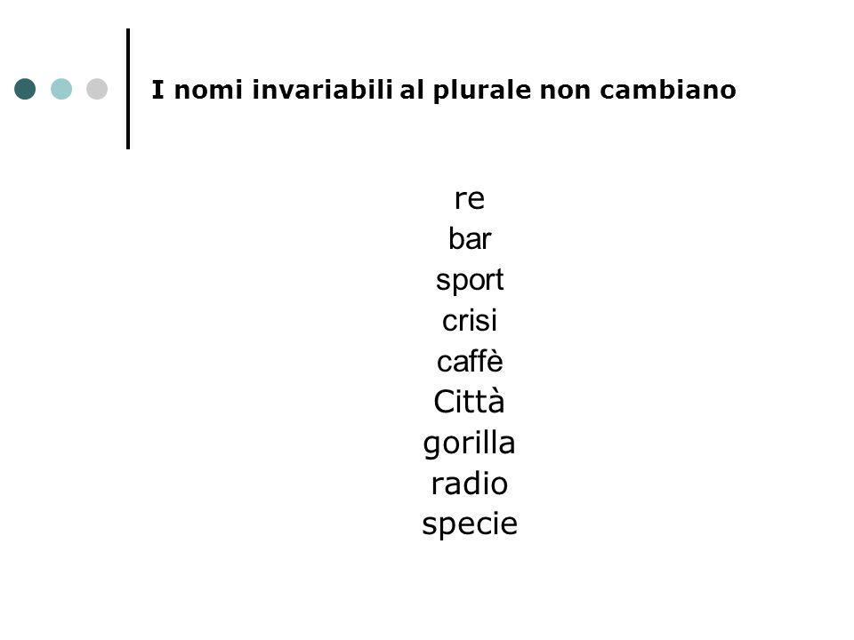 I nomi invariabili al plurale non cambiano re bar sport crisi caffè Città gorilla radio specie