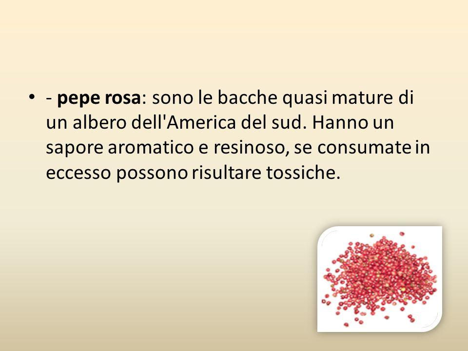 - pepe rosa: sono le bacche quasi mature di un albero dell America del sud.
