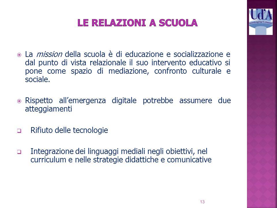  La mission della scuola è di educazione e socializzazione e dal punto di vista relazionale il suo intervento educativo si pone come spazio di mediazione, confronto culturale e sociale.