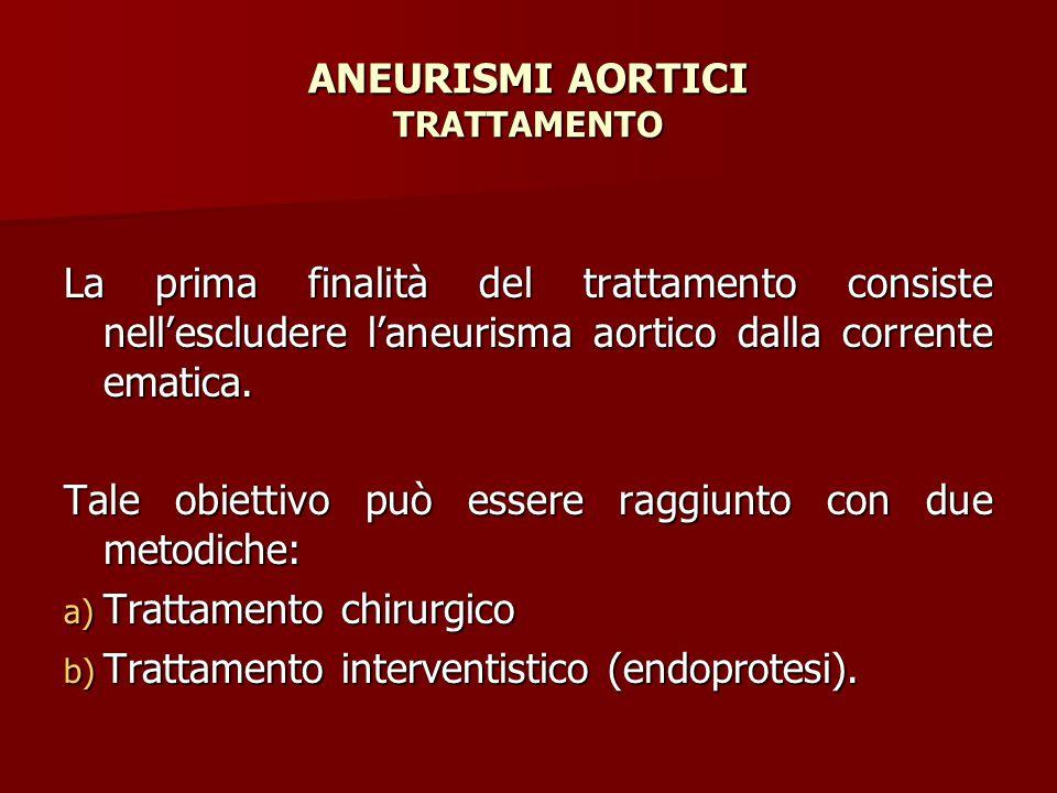 ANEURISMI AORTICI TRATTAMENTO La prima finalità del trattamento consiste nell'escludere l'aneurisma aortico dalla corrente ematica. Tale obiettivo può