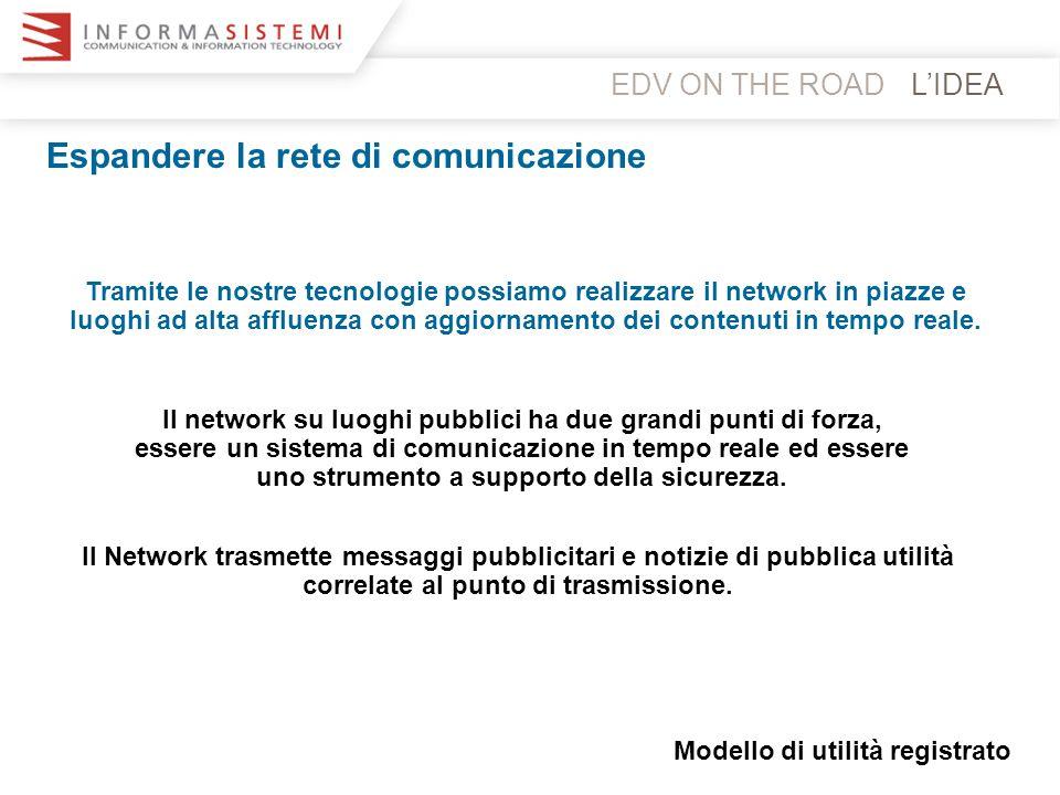 L'IDEA Espandere la rete di comunicazione Tramite le nostre tecnologie possiamo realizzare il network in piazze e luoghi ad alta affluenza con aggiorn
