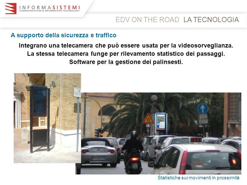EDV ON THE ROADLA TECNOLOGIA A supporto della sicurezza e traffico Integrano una telecamera che può essere usata per la videosorveglianza. La stessa t