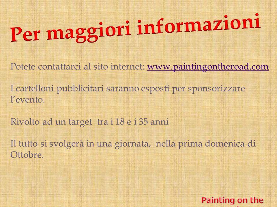 Potete contattarci al sito internet: www.paintingontheroad.comwww.paintingontheroad.com I cartelloni pubblicitari saranno esposti per sponsorizzare l'