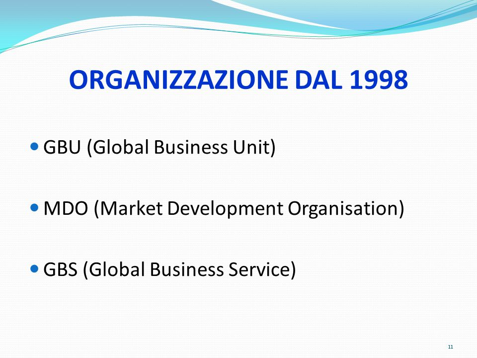 ORGANIZZAZIONE DAL 1998 GBU (Global Business Unit) MDO (Market Development Organisation) GBS (Global Business Service) 11
