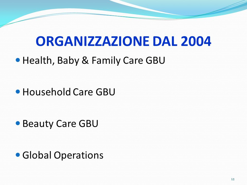 ORGANIZZAZIONE DAL 2004 Health, Baby & Family Care GBU Household Care GBU Beauty Care GBU Global Operations 12