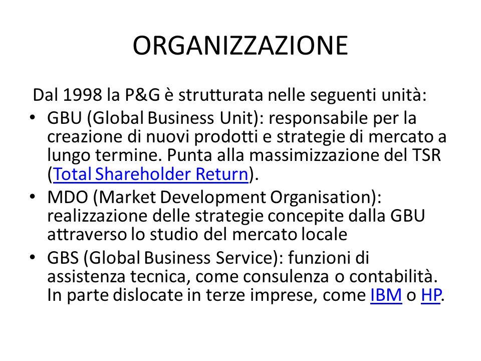 ORGANIZZAZIONE Dal 1998 la P&G è strutturata nelle seguenti unità: GBU (Global Business Unit): responsabile per la creazione di nuovi prodotti e strategie di mercato a lungo termine.