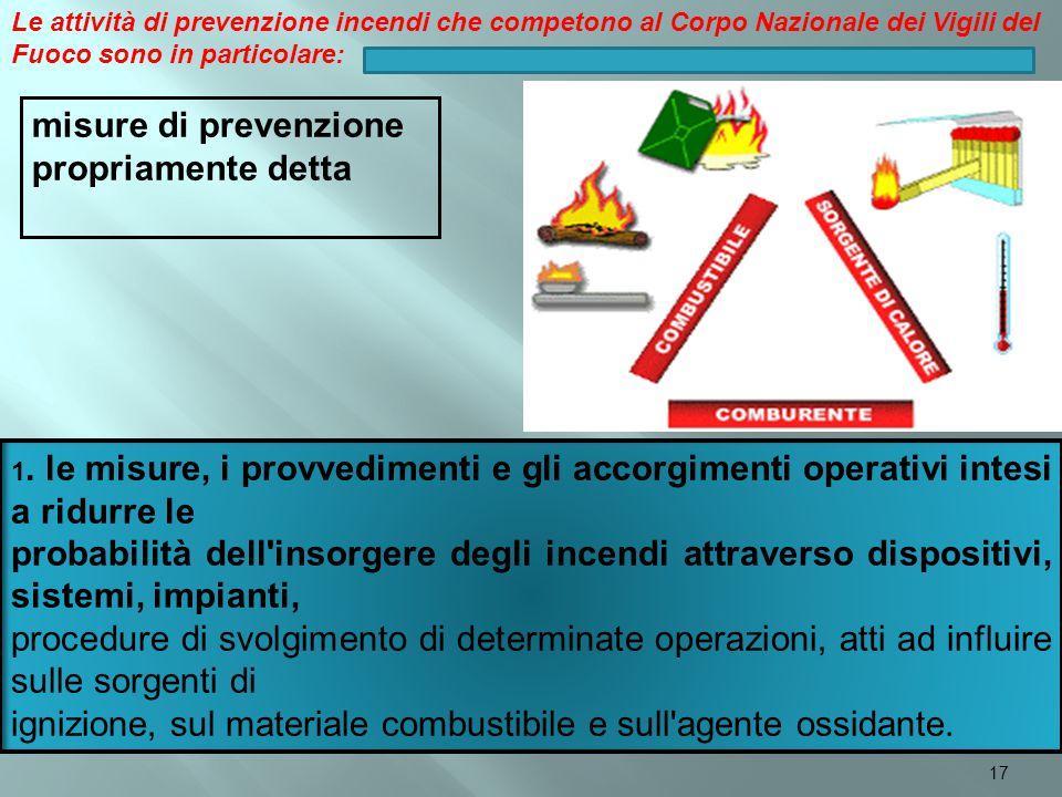 1. le misure, i provvedimenti e gli accorgimenti operativi intesi a ridurre le probabilità dell'insorgere degli incendi attraverso dispositivi, sistem