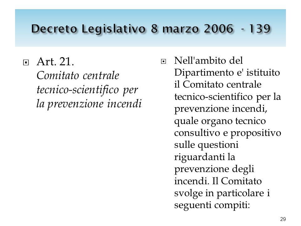  Art. 21. Comitato centrale tecnico-scientifico per la prevenzione incendi  Nell'ambito del Dipartimento e' istituito il Comitato centrale tecnico-s