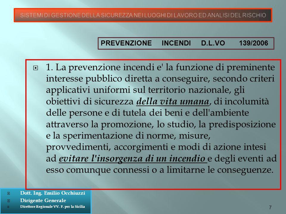  Dott. Ing. Emilio Occhiuzzi  Dirigente Generale  Direttore Regionale VV. F. per la Sicilia  1. La prevenzione incendi e' la funzione di preminent
