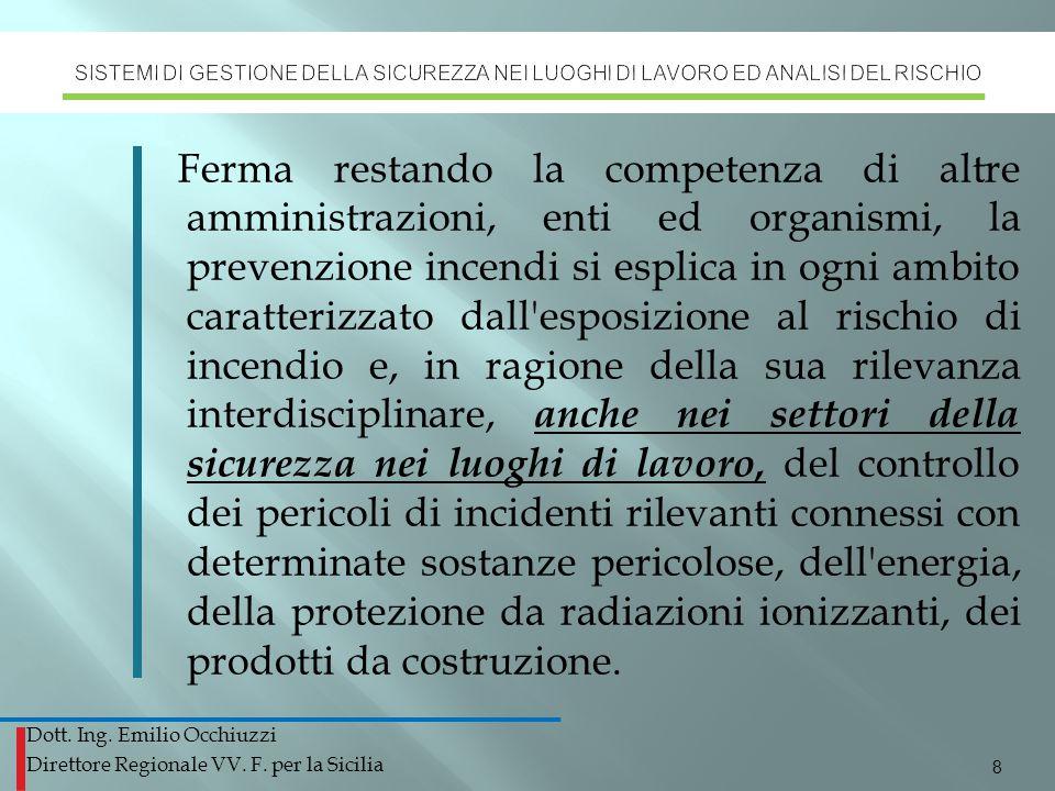 Dott. Ing. Emilio Occhiuzzi Direttore Regionale VV. F. per la Sicilia Ferma restando la competenza di altre amministrazioni, enti ed organismi, la pre