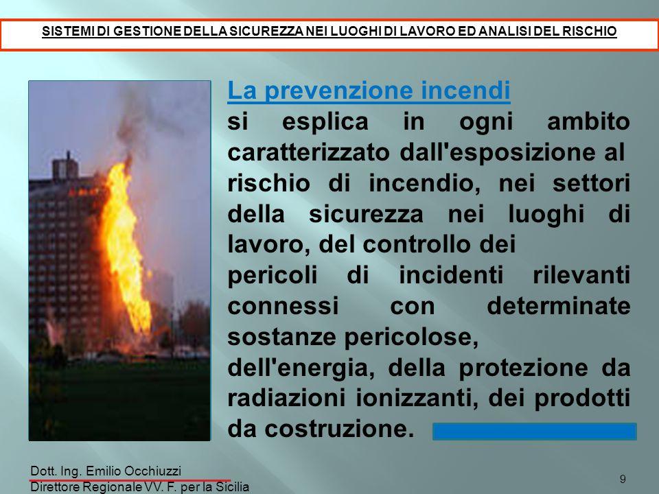 La prevenzione incendi si esplica in ogni ambito caratterizzato dall'esposizione al rischio di incendio, nei settori della sicurezza nei luoghi di lav