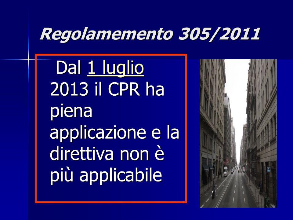 11 Dal 1 luglio 2013 il CPR ha piena applicazione e la direttiva non è più applicabile Dal 1 luglio 2013 il CPR ha piena applicazione e la direttiva non è più applicabile1 luglio1 luglio Regolamemento 305/2011
