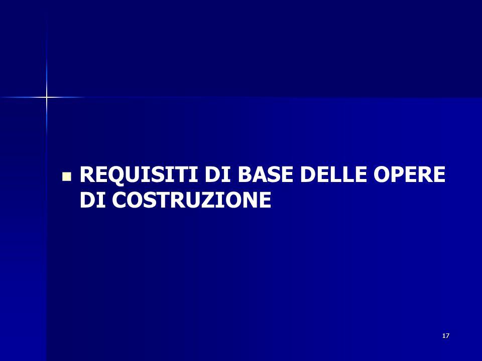 17 REQUISITI DI BASE DELLE OPERE DI COSTRUZIONE