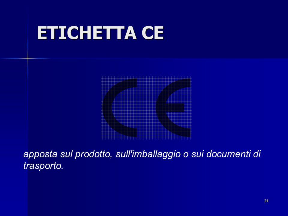 24 ETICHETTA CE apposta sul prodotto, sull imballaggio o sui documenti di trasporto.