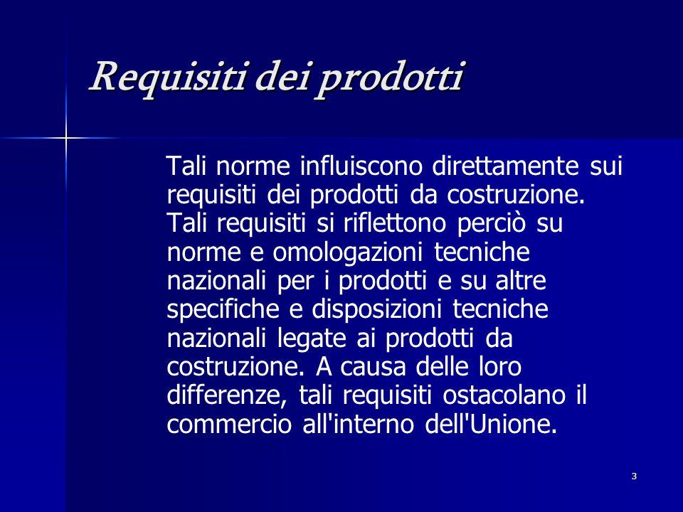 3 Requisiti dei prodotti Tali norme influiscono direttamente sui requisiti dei prodotti da costruzione.