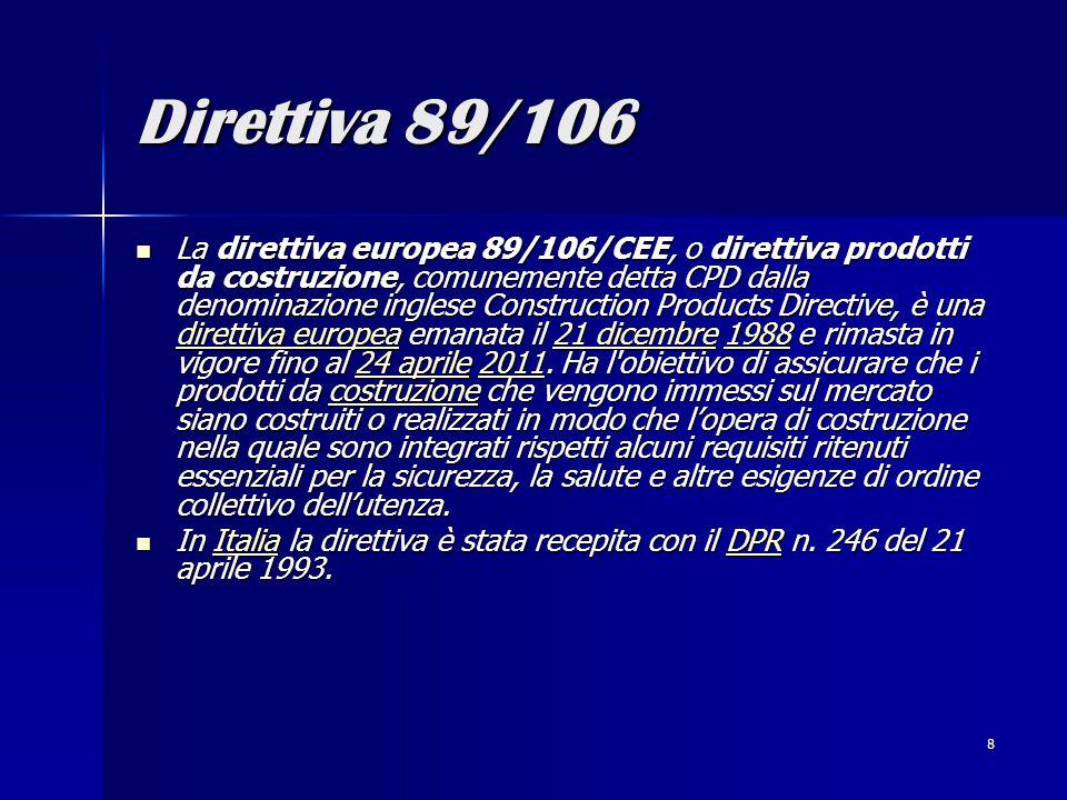 8 Direttiva 89/106 La direttiva europea 89/106/CEE, o direttiva prodotti da costruzione, comunemente detta CPD dalla denominazione inglese Construction Products Directive, è una direttiva europea emanata il 21 dicembre 1988 e rimasta in vigore fino al 24 aprile 2011.