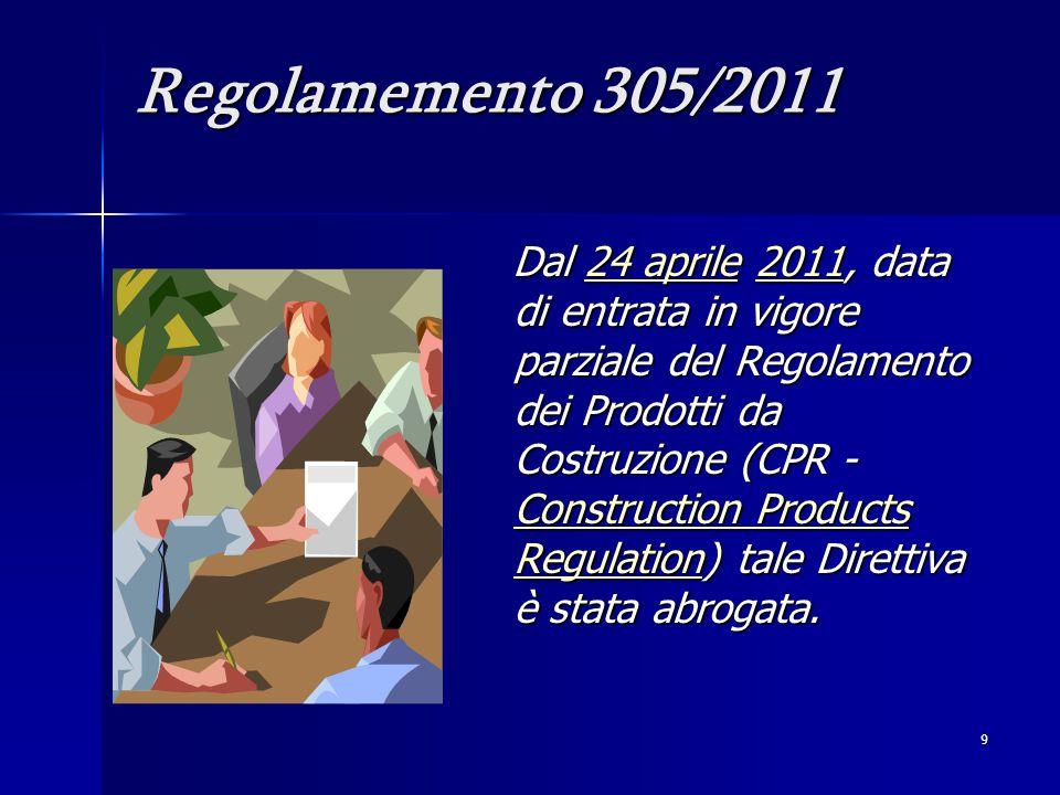 9 Regolamemento 305/2011 Dal 24 aprile 2011, data di entrata in vigore parziale del Regolamento dei Prodotti da Costruzione (CPR - Construction Products Regulation) tale Direttiva è stata abrogata.