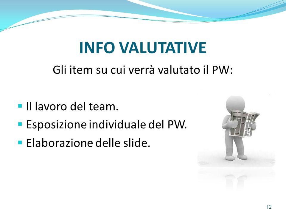 INFO VALUTATIVE Gli item su cui verrà valutato il PW:  Il lavoro del team.  Esposizione individuale del PW.  Elaborazione delle slide. 12