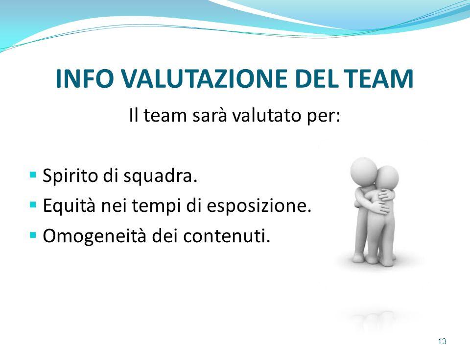 INFO VALUTAZIONE DEL TEAM Il team sarà valutato per:  Spirito di squadra.  Equità nei tempi di esposizione.  Omogeneità dei contenuti. 13
