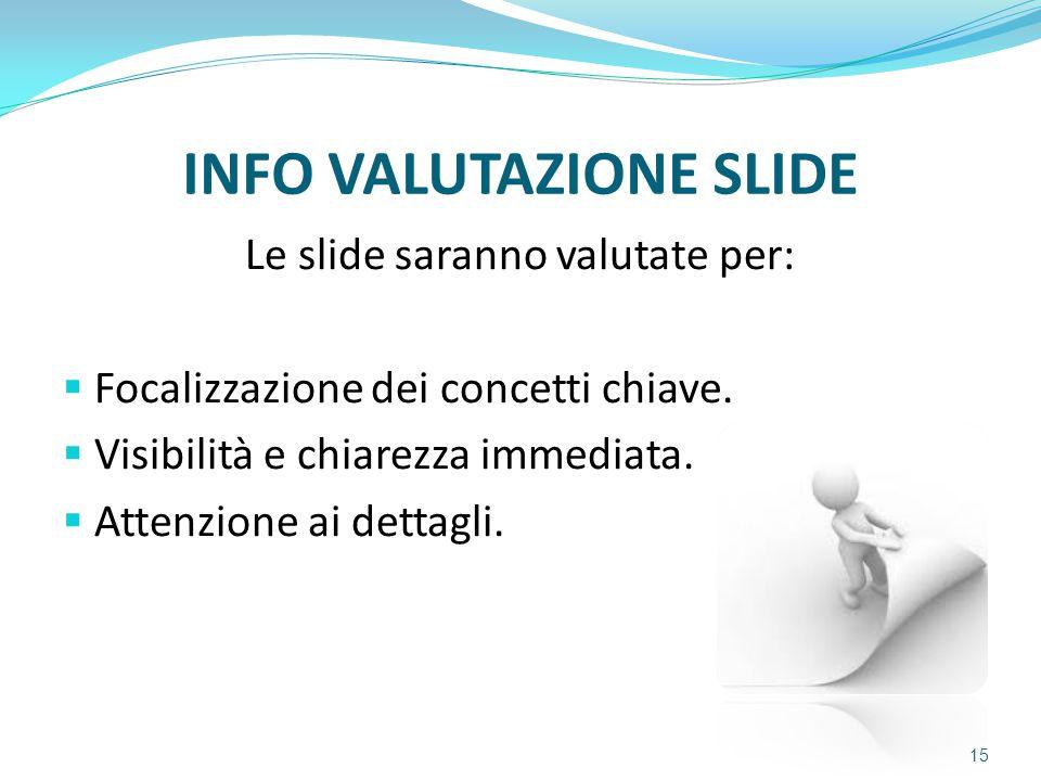 INFO VALUTAZIONE SLIDE Le slide saranno valutate per:  Focalizzazione dei concetti chiave.  Visibilità e chiarezza immediata.  Attenzione ai dettag