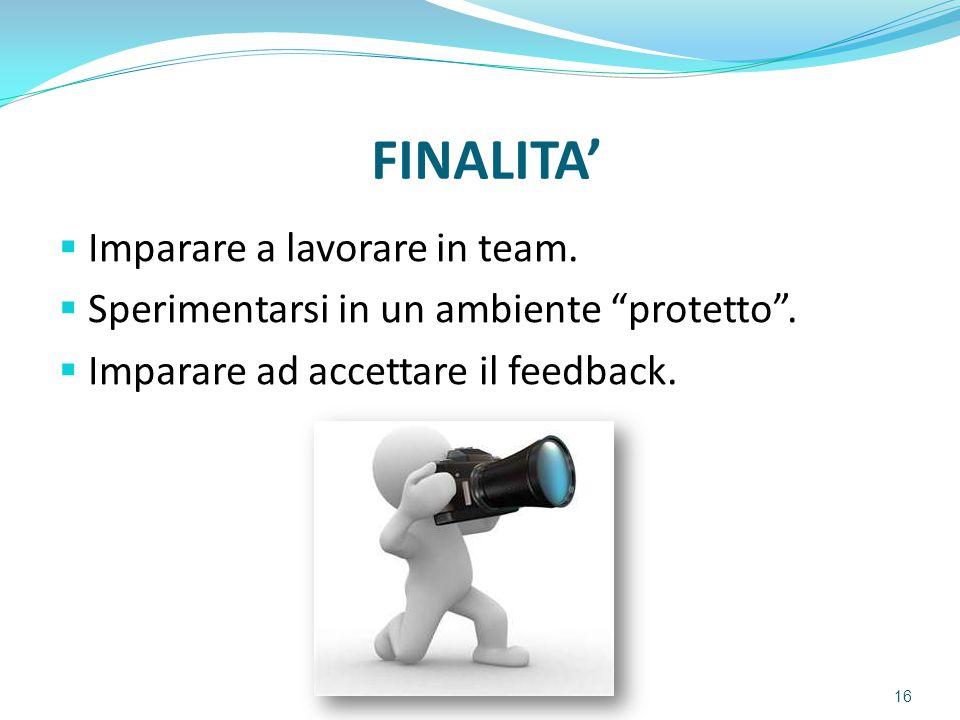 """FINALITA'  Imparare a lavorare in team.  Sperimentarsi in un ambiente """"protetto"""".  Imparare ad accettare il feedback. 16"""