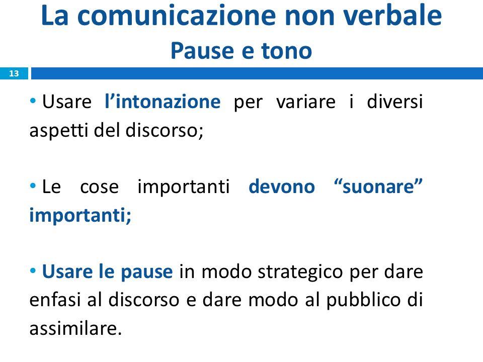 """La comunicazione non verbale Pause e tono Usare l'intonazione per variare i diversi aspetti del discorso; Le cose importanti devono """"suonare"""" importan"""