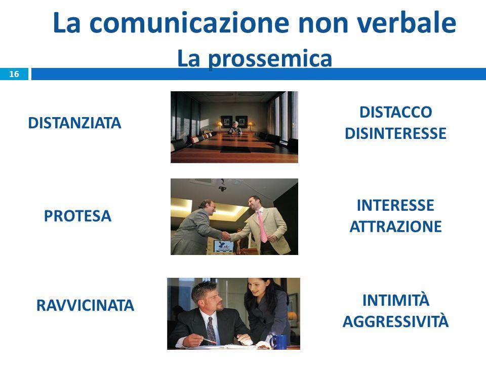La comunicazione non verbale La prossemica RAVVICINATA DISTACCO DISINTERESSE INTERESSE ATTRAZIONE INTIMITÀ AGGRESSIVITÀ 16 DISTANZIATA PROTESA