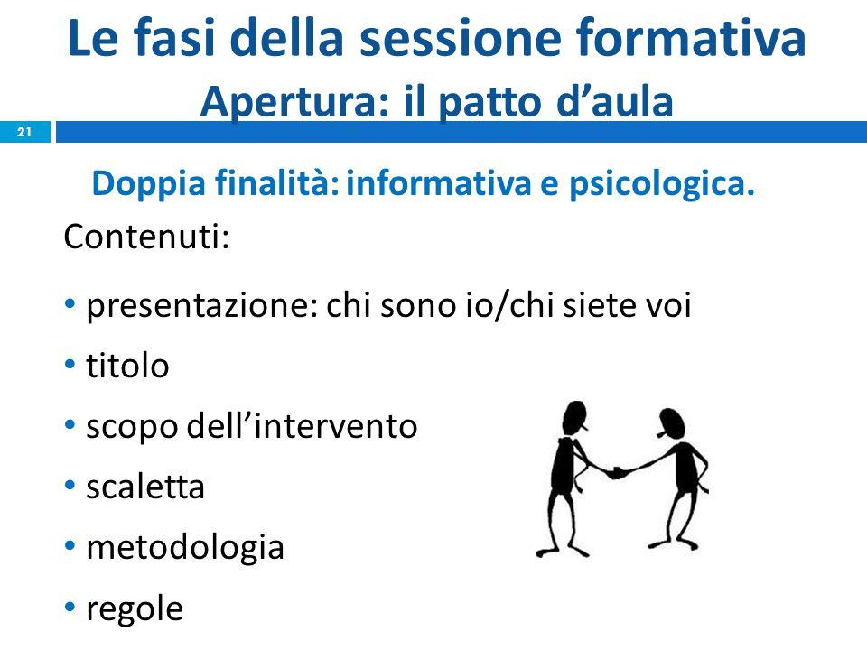 Le fasi della sessione formativa Apertura: il patto d'aula Doppia finalità: informativa e psicologica. Contenuti: presentazione: chi sono io/chi siete