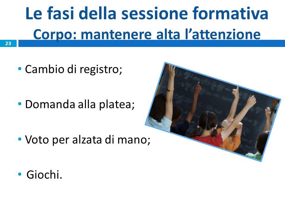 Le fasi della sessione formativa Corpo: mantenere alta l'attenzione Cambio di registro; Domanda alla platea; Voto per alzata di mano; Giochi.