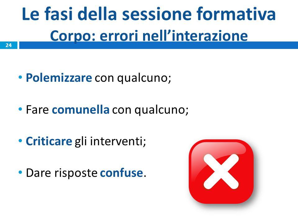 Le fasi della sessione formativa Corpo: errori nell'interazione Polemizzare con qualcuno; Fare comunella con qualcuno; Criticare gli interventi; Dare