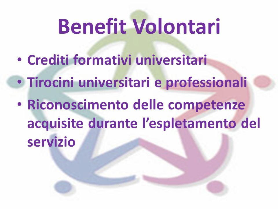 Benefit Volontari Crediti formativi universitari Tirocini universitari e professionali Riconoscimento delle competenze acquisite durante l'espletamento del servizio