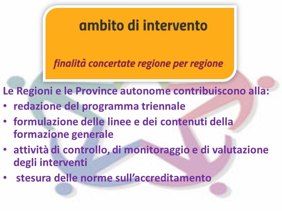 Le Regioni e le Province autonome contribuiscono alla: redazione del programma triennale formulazione delle linee e dei contenuti della formazione generale attività di controllo, di monitoraggio e di valutazione degli interventi stesura delle norme sull'accreditamento