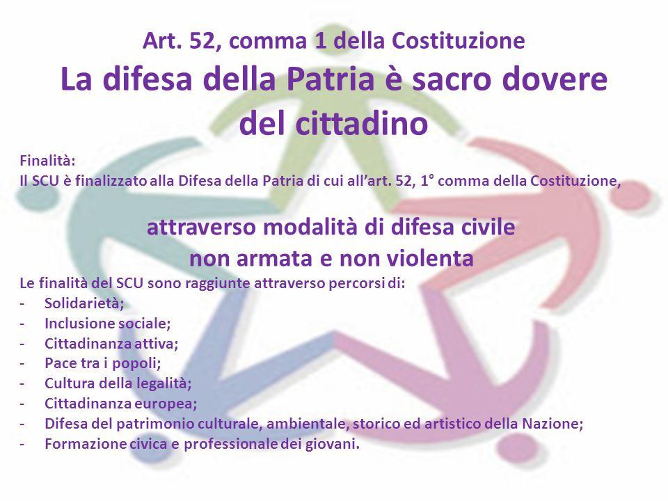 Art. 52, comma 1 della Costituzione La difesa della Patria è sacro dovere del cittadino Finalità: Il SCU è finalizzato alla Difesa della Patria di cui