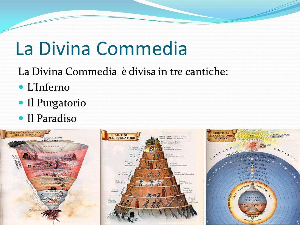 La Divina Commedia è divisa in tre cantiche: L'Inferno Il Purgatorio Il Paradiso