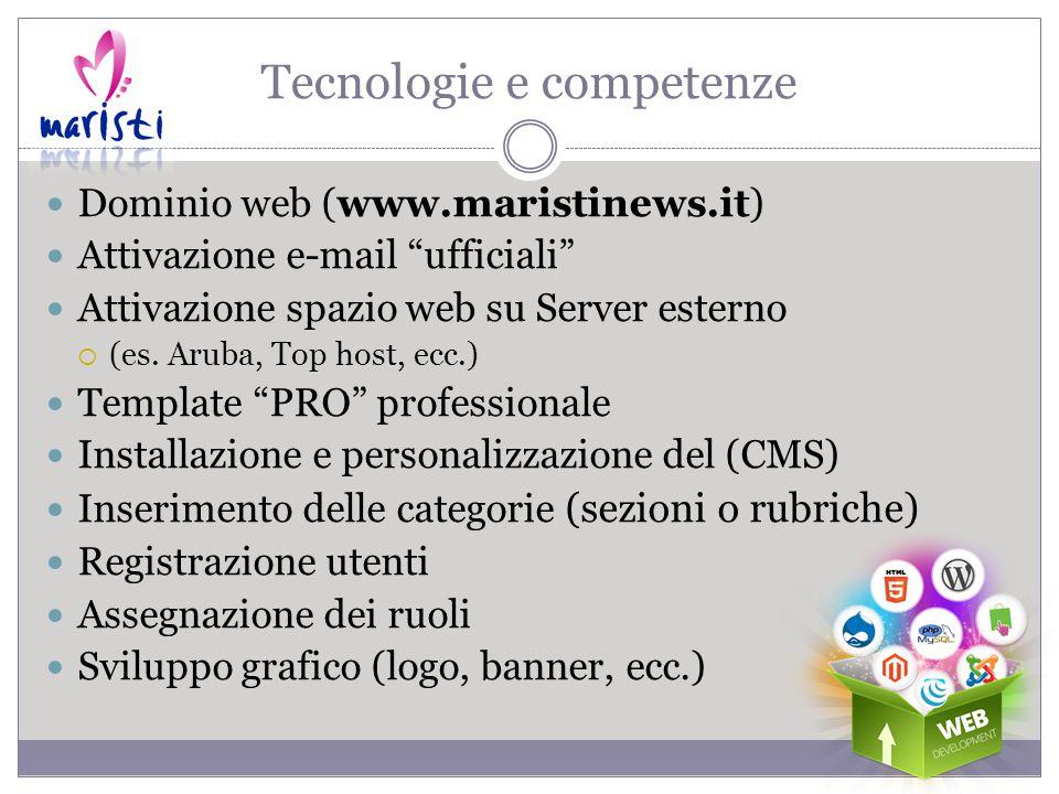 Tecnologie e competenze Dominio web (www.maristinews.it) Attivazione e-mail ufficiali Attivazione spazio web su Server esterno  (es.
