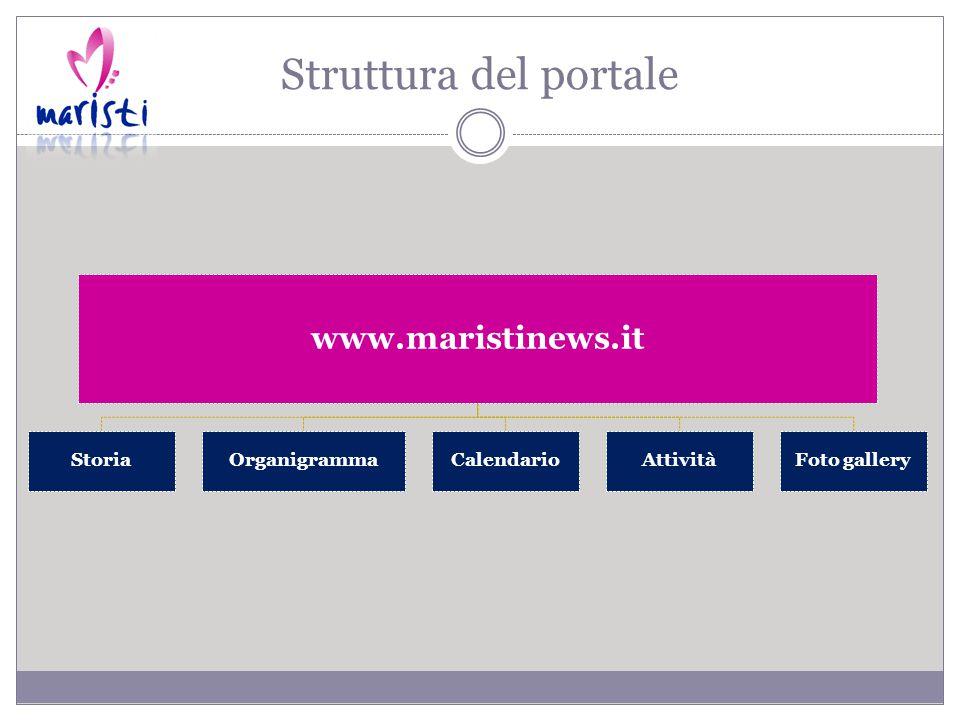 Struttura del portale www.maristinews.it StoriaOrganigrammaCalendarioAttivitàFoto gallery