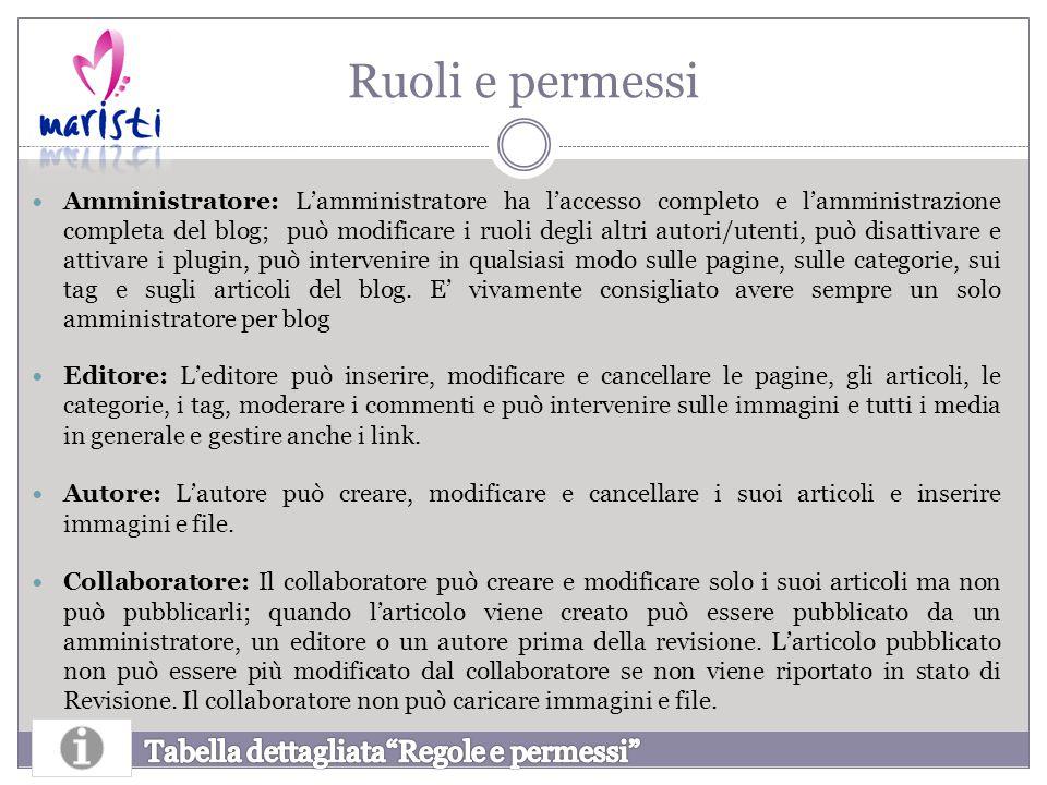 Ruoli e permessi Amministratore: L'amministratore ha l'accesso completo e l'amministrazione completa del blog; può modificare i ruoli degli altri auto