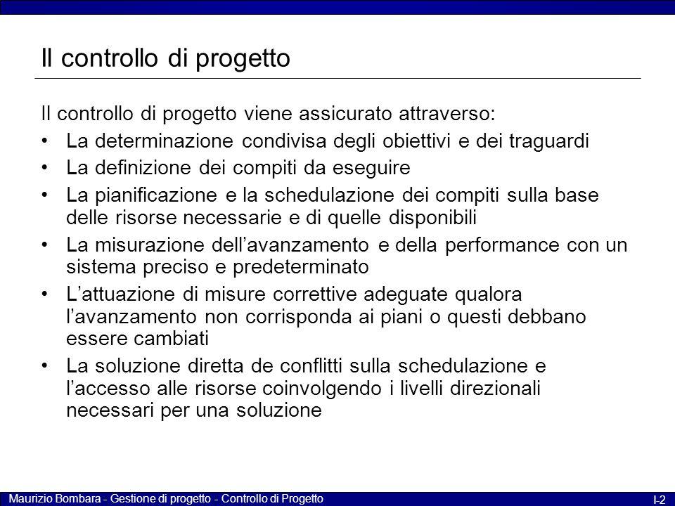Maurizio Bombara - Gestione di progetto - Controllo di Progetto I-2 Il controllo di progetto Il controllo di progetto viene assicurato attraverso: La