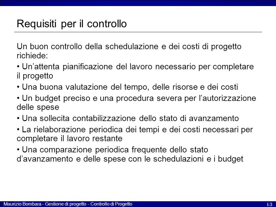 Maurizio Bombara - Gestione di progetto - Controllo di Progetto I-3 Requisiti per il controllo Un buon controllo della schedulazione e dei costi di pr